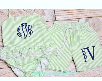 1bc96face Boys and Girls Monogrammed Seersucker Swimsuits, toddler sibling matching  swimsuit, monogrammed swimsuit, personalized kids swimsuits