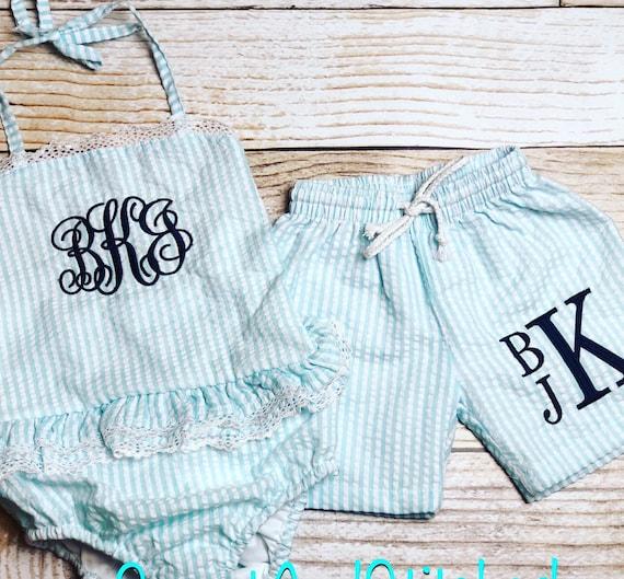 78eeb3ed86 Toddler 4th of July Swimsuits girls seersucker 1 piece | Etsy