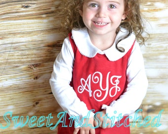 Girls Christmas dress - Monogrammed Christmas outfit- Corduroy Christmas jumper - monogrammed Christmas dress, 1st Christmas outfit
