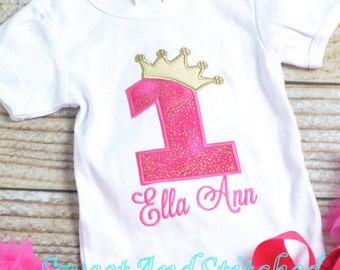 Hot Pink and gold First (1st) Birthday Outfit - First birthday outfit, birthday outfit! pink gold cake smash outfit