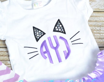 Girls Halloween Shirt or Tee personalized, girl monogrammed cat shirt, girls Halloween shirt - girls kitty cat outfit for halloween or fall