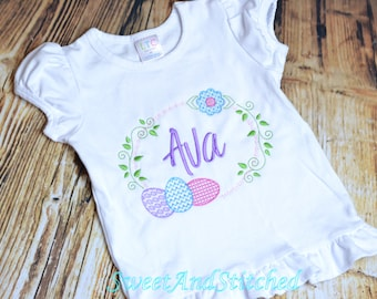 Girls Easter Shirt personalized, Monogrammed girls Easter outfit, monogrammed Easter egg shirt, Monogrammed Spring Shirt for girls