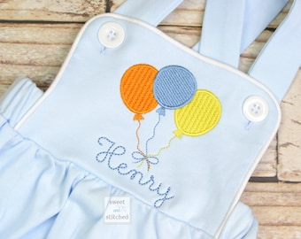 Monogrammed baby boy Birthday romper, personalized boys bubble, boys cake smash outfit, balloon birthday outfit