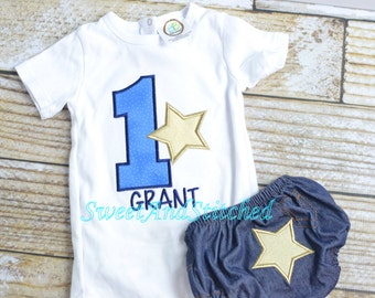 Boys First (1st) Birthday Star Outfit Personalized! -  Boy Star 1st Birthday Shirt, Star Birthday Outfit