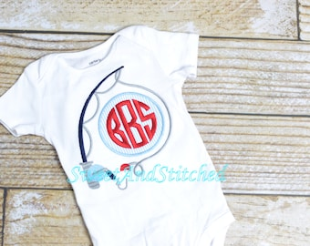 Monogrammed boys Fishing shirt, monogrammed fishing tee, baby boys 4th of july shirt, Seersucker summer shirt for boys, red white and blue