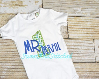 Boys First (1st) Birthday Outfit, Mr. Onederful birthday shirt, Mr. 1Derful, Baby Boy Cake Smash Outfit, 1st Birthday Shirt