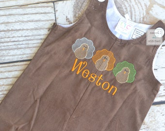 Baby Boy thanksgiving outfit with turkeys and name in vintage style, boys corduroy overalls personalized, Monogrammed thanksgiving longall