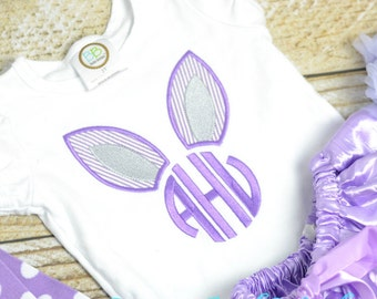 Girls Easter Shirt personalized in purple, Monogrammed girls Easter outfit seersucker, girls Easter Bunny Ears Shirt