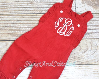 Baby girl monogrammed Valentin's outfit, Red Ruffle Christmas overalls, girls Christmas outfit, baby girl valentine's outfit