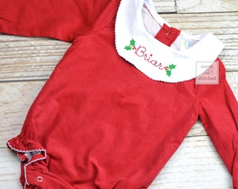 Baby girl monogrammed Christmas bishop bubble in red corduroy, Ruffle Christmas bubble, girls Christmas outfit