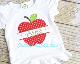 Girls Back to School Shirt personalized, girl back to school tee, - Personalized Apple Shirt for back to school