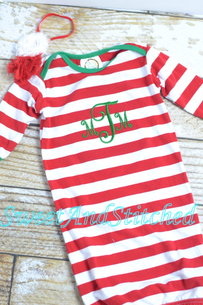 Baby's first 1st Christmas gown stripe  my first image 0