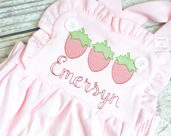 Monogrammed baby girl pink ruffle bubble with strawberries, girls strawberry outfit, 1st birthday cake smash outfit, Summer Beach Outfit