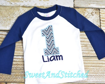 Boys First (1st) Birthday Shirt or tee, Personalized Raglan Birthday shirt with name and number - Baby Boy Cake Smash Outfit,