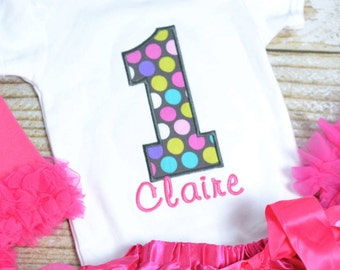 Girls First Birthday Outfit - Polka dot 1st birthday outfit! Hot pink cake smash outfit, first birthday outfit polka dot