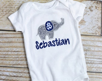 Personalized baby boy elephant outfit in blue and gray, baby boy monogram elephant outfit and newborn hat, Baby boy take home outfit