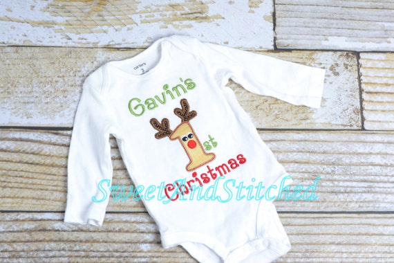 d4f63f977101 Personalized Baby Boy 1st Christmas outfit baby Boy