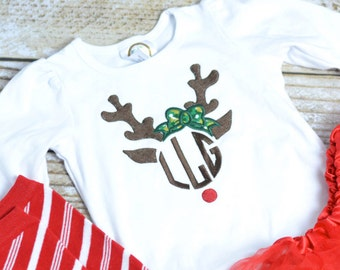 Girls Reindeer Shirt personalized- girls monogrammed christmas shirt, Baby girl Christmas outfit!  Monogrammed Christmas Shirt for Girls