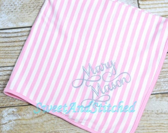 Baby Girl Monogram Blanket with stripe, Personalized pink striped newborn blanket, Monogrammed hospital blanket, Baby blanket with name