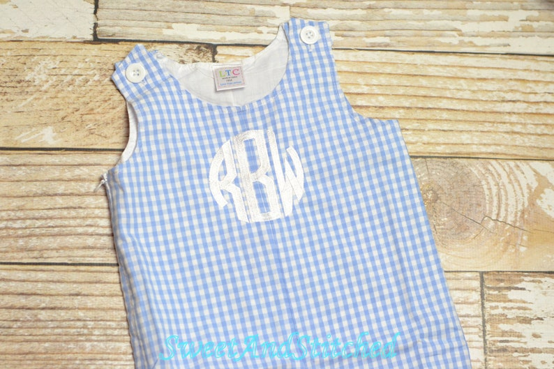 Baby Boy Easter outfit in blue gingham  Boys monogrammed image 0