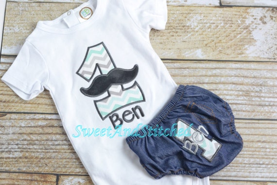 Boys First 1st Birthday Mustache Outfit Personalized Boy