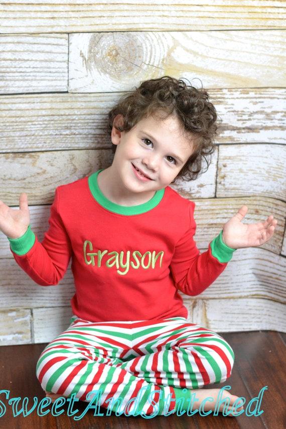 Kids Christmas Pajamas Pjs Jammies in red and green stripe | Etsy