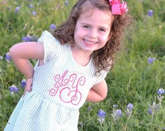 Monogrammed Flower Girl dress, toddler dress monogrammed, seersucker girls dress, baby girl beach outfit, girls summer dress