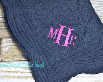 Monogrammed baby girl quilt, Navy Quilt, monogrammed Baby quilt, Personalized Quilt pink and navy, heirloom baby quilt, baby shower gift