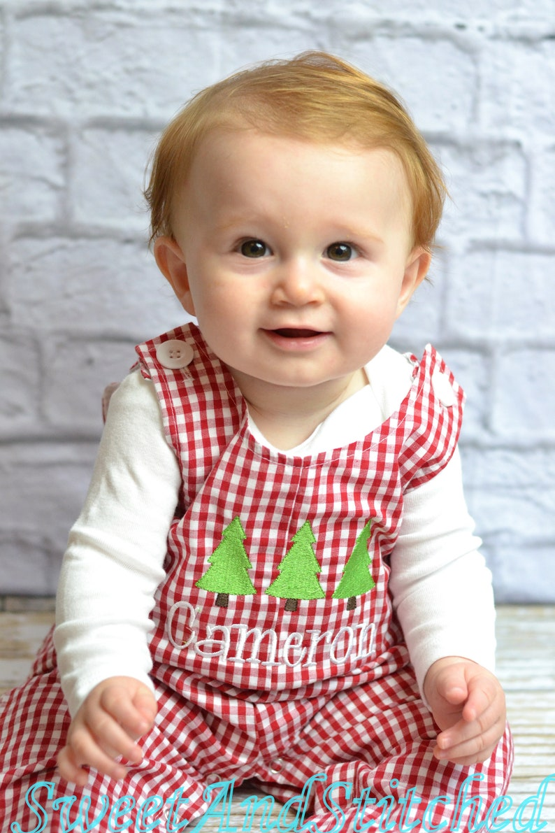 Personalized Baby Boy Christmas outfit  red gingham image 0