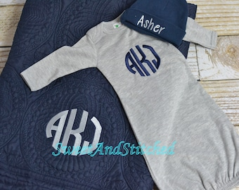 Personalized Baby Boy Gift Set, Baby Boy layette gift set, baby boy Quilt, gown and hat, Monogrammed quilt gown and hat in Navy and gray