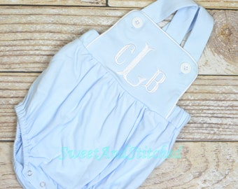 Monogrammed baby boy bubble, monogrammed boys romper, baby blue baptism outfit, baby dedication outfit, monogrammed cross backed sunsuit
