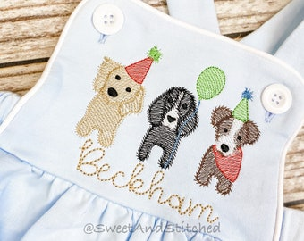 Monogrammed baby boy Birthday romper with puppies, dog birthday outfit, puppy or dog themed cake smash outfit, balloon birthday outfit