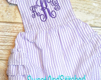 Monogrammed toddler bubble romper, monogrammed Seersucker bubble, baby girl summer outfit, toddler Beach Outfit monogrammed