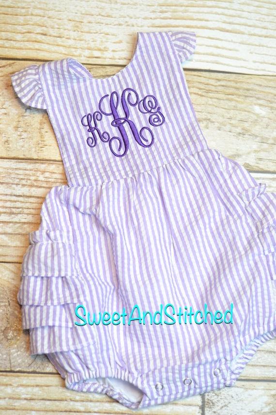 Monogram Seersucker Bubble Girls Seersucker Bubble Girls Monogram Romper, Pink Seersucker Bubble Girls Monogram Clothing