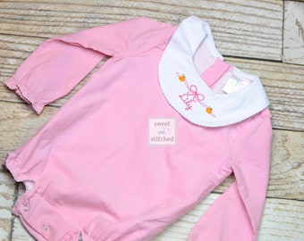 Baby girl monogrammed Thanksgiving bishop bubble in pink corduroy, Ruffle Fall bubble with pumpkins and name, girls fall outfit