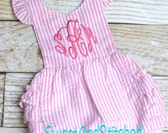 Monogrammed toddler bubble romper, monogrammed Seersucker bubble, baby girl summer outfit, toddler Beach Outfit