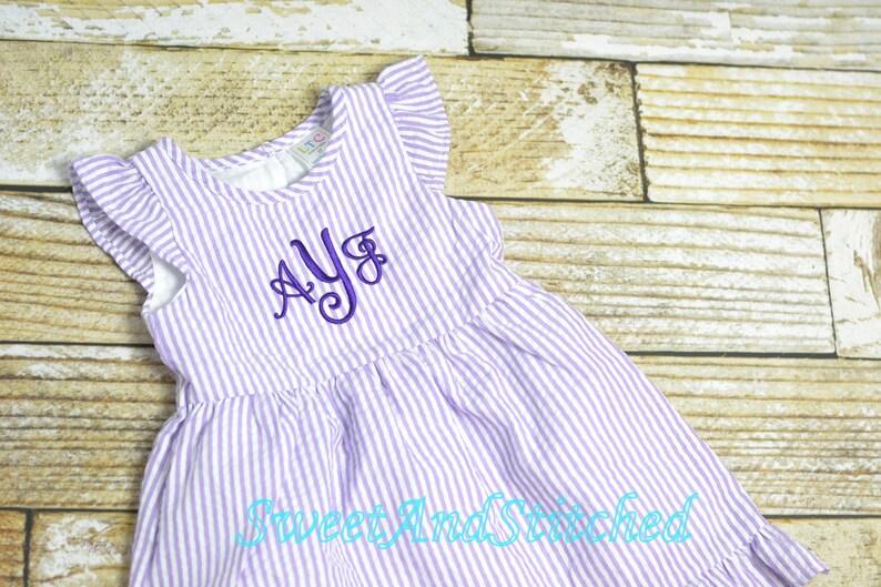Monogrammed Seersucker Easter dress toddler dress baby girl image 0