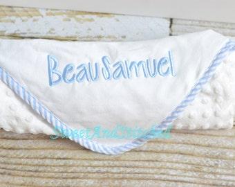 Monogrammed baby blanket, Boys Minky Dot Blanket personalized, Minky baby blanket, personalized baby shower gift, monogrammed baby gift