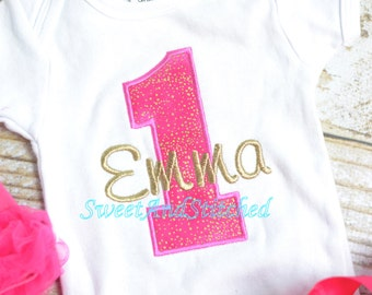 Hot Pink and gold First (1st) Birthday Outfit - First birthday outfit! pink gold cake smash outfit, baby girl birthday shirt or tee!