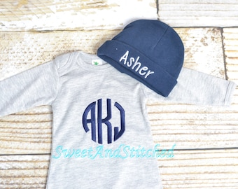 Baby boy monogrammed gown gray and navy, baby boy take home outfit, monogrammed outfit gray and navy - Baby boy gift set, baby shower gift