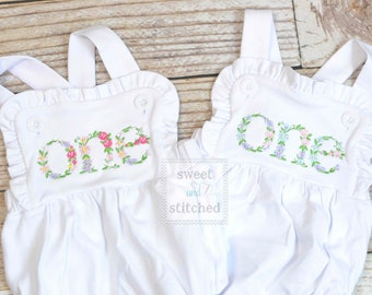Embroidered baby girl cake smash outfit with floral ONE design, girls birthday outfit, cake smash outfit, Flower birthday outfit