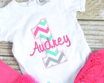 Pink and Green First (1st) Birthday Outfit, ruffle bloomers - Pink Cake Smash outfit!  Birthday Outfit, cake smash, pink and green chevron