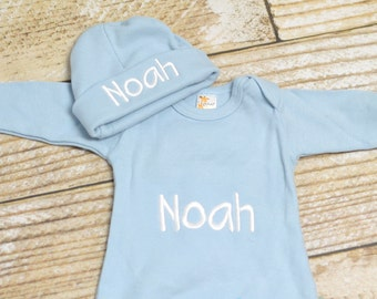 Baby boy monogrammed gown, baby boy take home outfit, monogrammed outfit for boys, newborn hat - Baby boy gift set layette, baby shower gift
