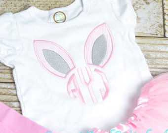 Girls Easter Shirt personalized, Monogrammed girls Easter outfit, monogrammed girls Easter Bunny Ears Shirt with monogram