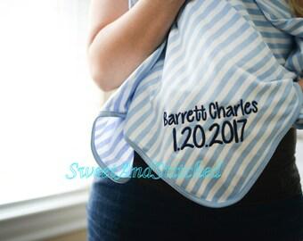 Baby Boy Monogram Blanket with stripe, Personalized blue striped newborn blanket, Monogrammed hospital blanket, Baby blanket with name