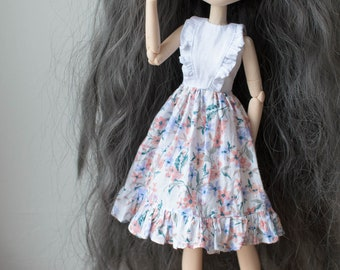 Floral dress with ruffles by Atelier Milabrocc for 1/6 scale dolls Obitsu 27 Pullip