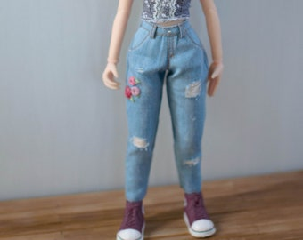 Mom jeans embroidered roses for Blythe Azone Pure Neemo by Atelier Milabrocc pants
