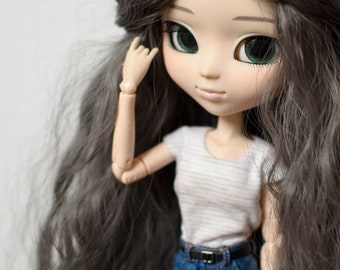 Striped T-shirt for Pullip Obitsu 27 by Atelier Milabrocc White and grey
