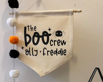 Large Personalised 'The Boo Crew' Halloween Banner, Hanging Banner, Halloween Decoration