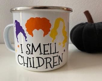 I Smell Children, Hocus Pocus inspired Enamel Mug, Halloween Mug, Hot Chocolate Mug, Kids Mug, Camping Mug, Camp Mug